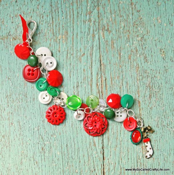 25 increibles  adornos de navidad hechos a mano - brazalete hecho con botones