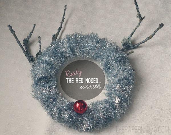 25 increibles  adornos de navidad hechos a mano - guirnalda nariz roja