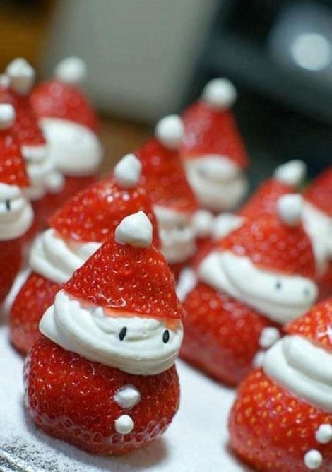 25 increibles  adornos de navidad hechos a mano - santa claus hecho de fresas