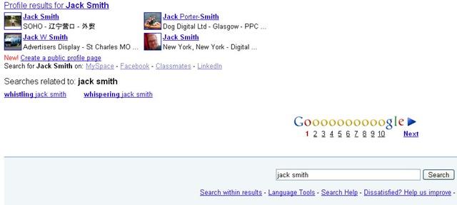 Google profile search