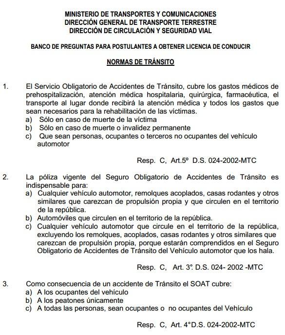 Balotario De Preguntas Y Respuestas Del Examen De Manejo En Peru