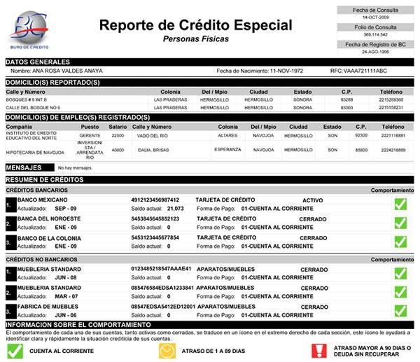 buro de credito reporte de credito especial