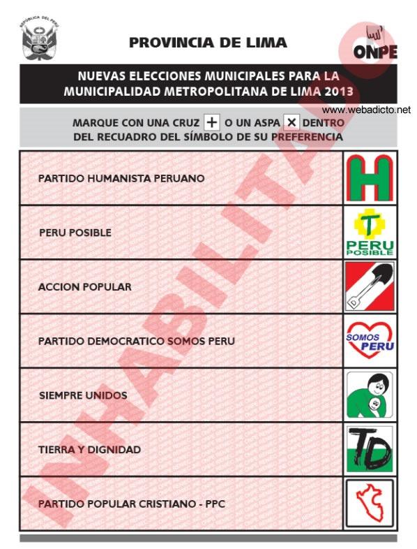 candidatos elecciones municipales lima 24 noviembre 2013