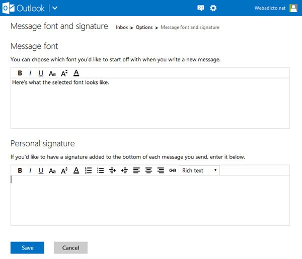 Cómo poner una firma personal en mi correo de Hotmail o Outlook - Paso 3