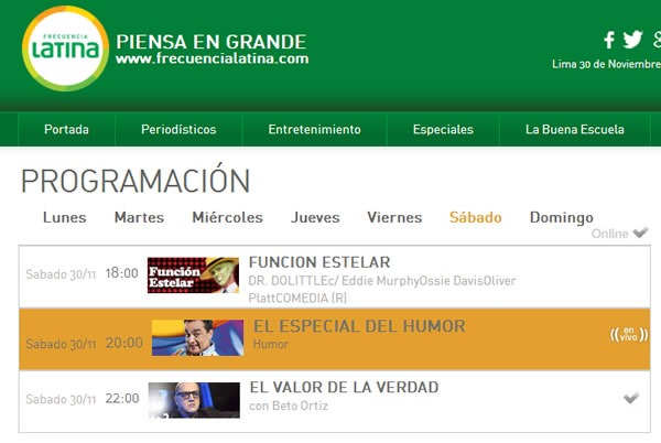 frecuencia latina canal 2 en vivo peru programacion
