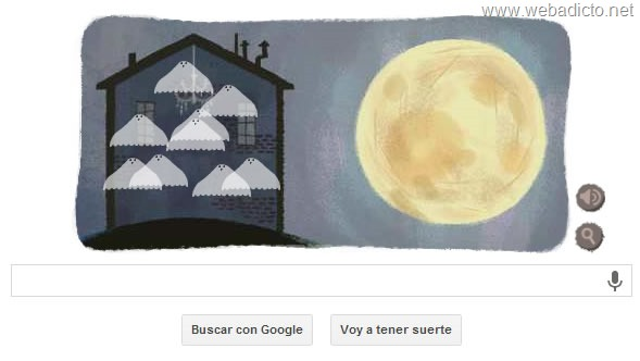 google doodle halloween 2013 botella de veneno y calavera