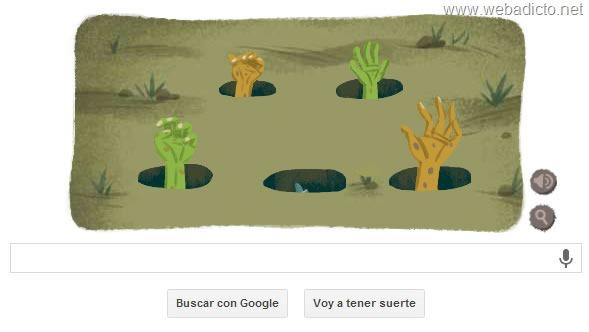 google doodle halloween 2013 hueso y botella de veneno