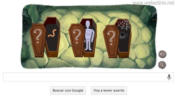 google doodle halloween 2013 hueso y calavera