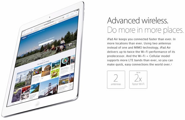nuevo ipad air caracteristicas wireless