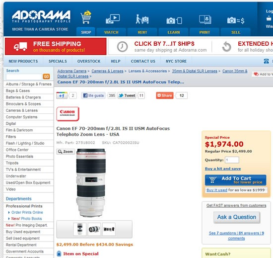 oferta-canon-ef-70-200mm-f2.8L-IS-II-USM-adorama-precio
